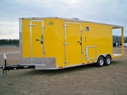 2001 8.5X24 Yellow V-Nose BBQ Concession Trailer